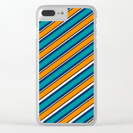 TEAM COLORS 1…Teal navy white and orange stripe Clear iPhone Case