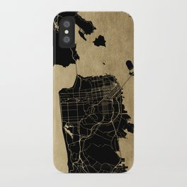 San Francisco California Black and Gold Map iPhone Case