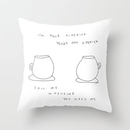 Best Friends Coffee Cups -  kitchen illustration cafe tea family Throw Pillow