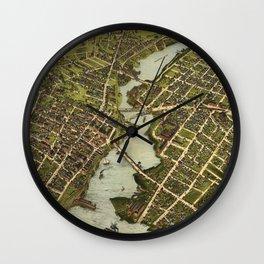 Vintage Pictorial Map of Bridgeport CT (1875) Wall Clock
