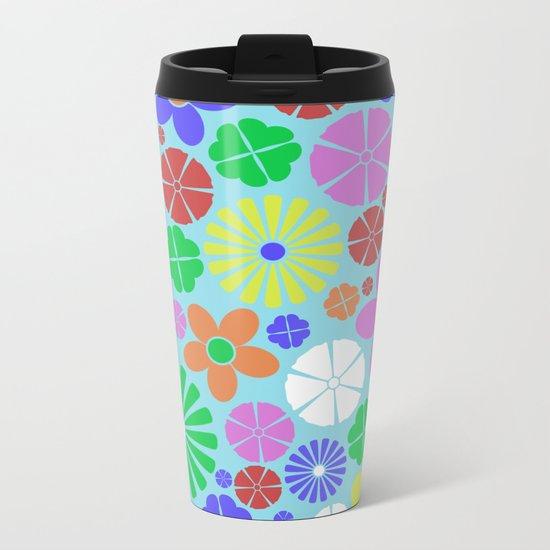 Colourful Colorful Flowers Pattern Metal Travel Mug