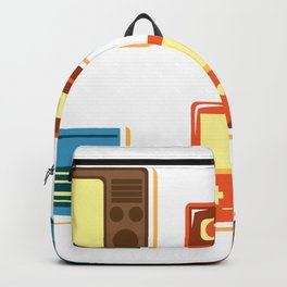 80s Retro Household Electronics - Video Games Television Radio Cassette Tape Walkman Pattern Backpack