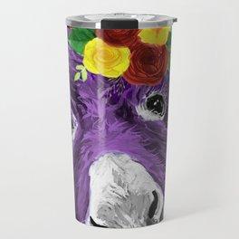 Colorful Donkey Art, Flower Crown Donkey Art Travel Mug