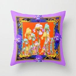 Lilac Purple Color Cumin Iris Garden Art Throw Pillow