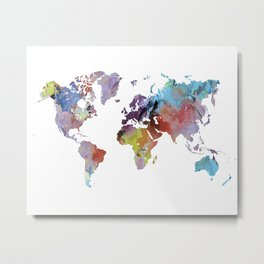 Watercolor world map | Rainbow map | Geography print Metal Print