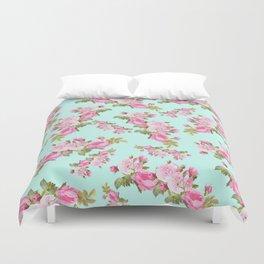 Pink & Mint Green Floral Duvet Cover