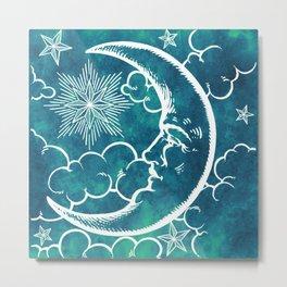 Moon vintage marine green Metal Print