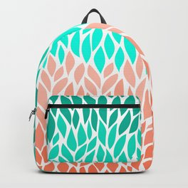 Leaves Teal and Coral Ombre Backpack