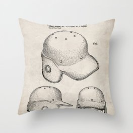 Baseball Helmet Patent - Baseball Player Art - Antique Throw Pillow