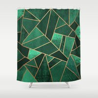 copper Shower Curtains featuring Emerald and Copper by Elisabeth Fredriksson