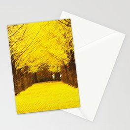 Gingko Biloba Autumn Leaves Landscape Painting by Jéanpaul Ferro Stationery Cards