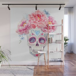 Mexican Skull Bone Candy Calavera Flower Crown Diamond Third Eye Flowers Watercolor Painting Wall Mural