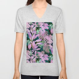 Tropical Night Magenta & Emerald Jungle Unisex V-Neck