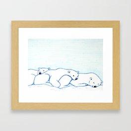 Sleepy Polar Bears Framed Art Print