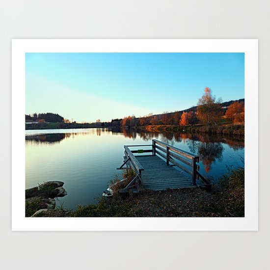 Indian summer sunset at the fishing lake II   waterscape photography Art Print