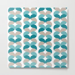 Abstract round teal geometric rows Metal Print