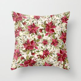 POINSETTIA - FLOWER OF THE HOLY NIGHT Throw Pillow