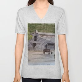 Old Horse Barn Unisex V-Neck