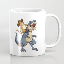 Cat Cowboy Riding T-rex Dinosaur T shirt Funny Purrassic Kitty Kitten Dino Gifts Kids Boys Girls Men Coffee Mug