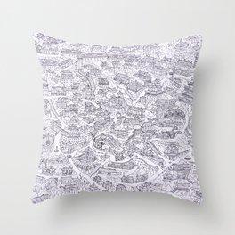 Original Chinese style village print Throw Pillow