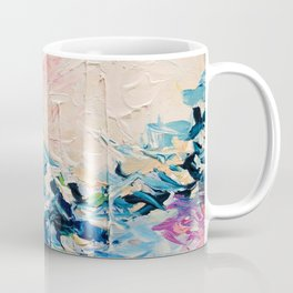 PARADISE DREAMING Colorful Pastel Abstract Art Painting Textural Pink Blue Tropical Brushstrokes Coffee Mug