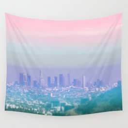 Los Angeles Scenic Southern California Landscape Colored Sun Haze Wall Art Print Wall Tapestry
