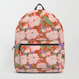 Big pink blooms on red Backpack