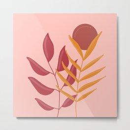 Earthy Botanical - pastel retro palette Metal Print