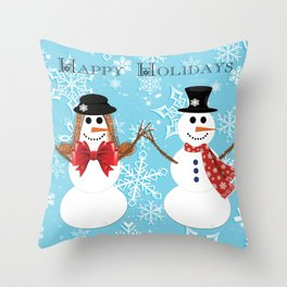 Mr. and Mrs. Snowman Throw Pillow