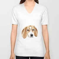 beagle V-neck T-shirts featuring beagle by chocomocacino