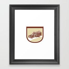 Vintage Pickup Truck Delivery Harvest Shield Retro Framed Art Print