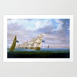 Nelson's Inshore Blockading Squadron At Cadiz - Thomas Buttersworth Art Print
