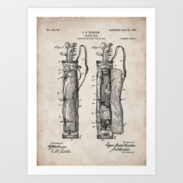 Golf Bag Patent - Caddy Art - Antique Art Print