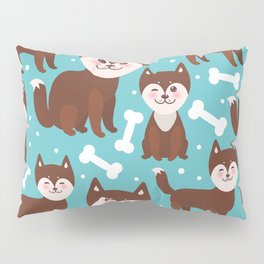 funny brown husky dog and white bones, Kawaii face with large eyes and pink cheeks blue background Pillow Sham