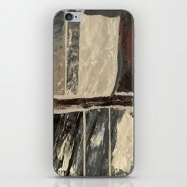 Textured Marble Popular Painterly Abstract Pattern - Black White Gray Red iPhone Skin