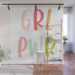 GRL PWR, Hand Lettered Feminist Design Wall Mural