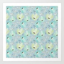 Abstract mint pastel blue teal floral illustration Art Print