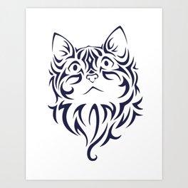 Front Facing Cat Kitten Face Stencil Art Print
