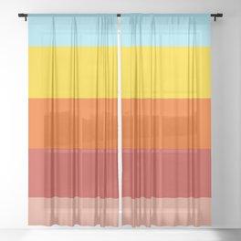 Retro Colors Summer Stripes Vibe Sheer Curtain
