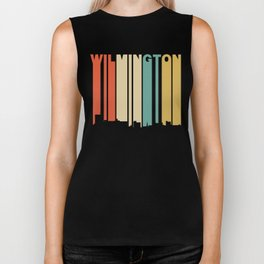 Retro 1970's Style Wilmington North Carolina Skyline Biker Tank