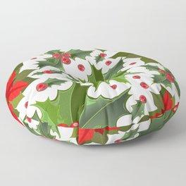 Christmas berry pattern Floor Pillow