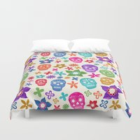 sugar skulls Duvet Covers featuring Sugar Skulls by Emmyrolland
