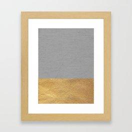 Color Blocked Gold & Grey Framed Art Print