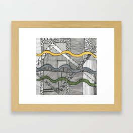 Hand drawn pattern wave on square Framed Art Print