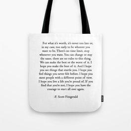 F.scott quotes Tote Bag