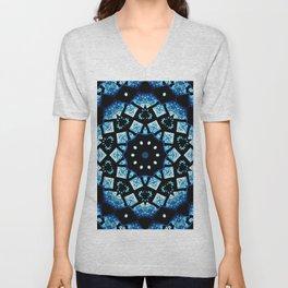 Blue Black Mosaic Kaleidoscope Mandala Unisex V-Neck