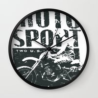 sport Wall Clocks featuring Motor Sport by Tshirt-Factory
