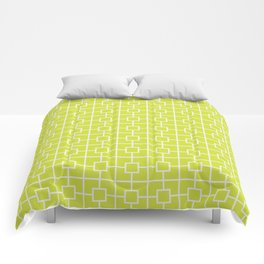 Pear Green Square Chain Pattern Comforters