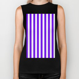 Narrow Vertical Stripes - White and Indigo Violet Biker Tank