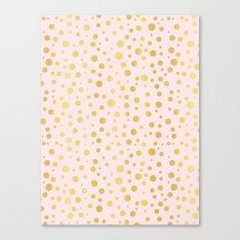 Luxe Rose Gold Polka Dots Pattern Seamless Vector, Drawn Metallic Canvas Print